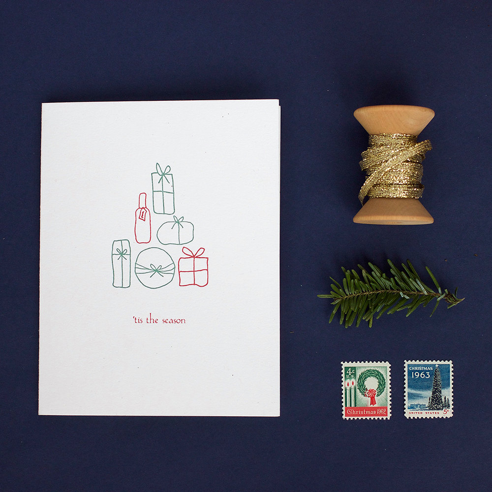 tis the season box of six letterpress holiday cards albertine press