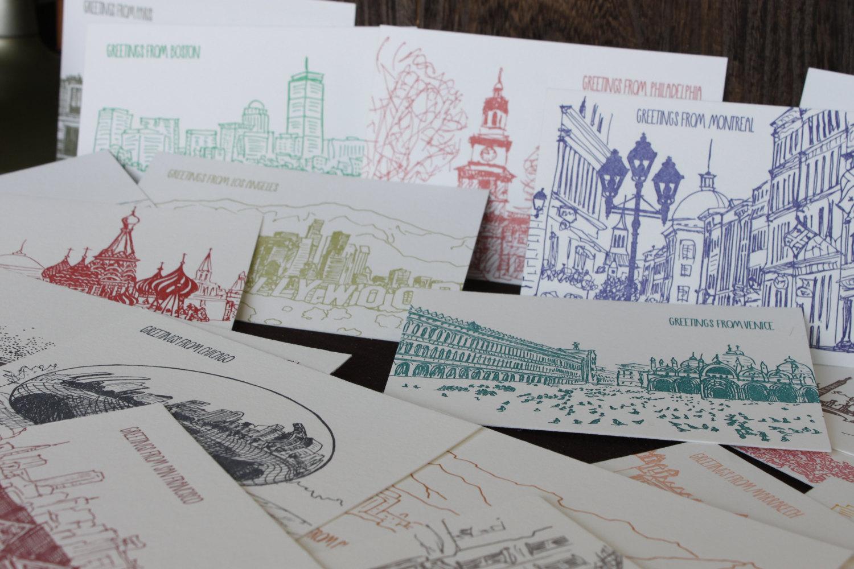 New Orleans Five Letterpress Postcards Albertine Press