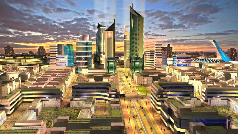 An architectural render of the proposed Konza City. (Source: Konza City)