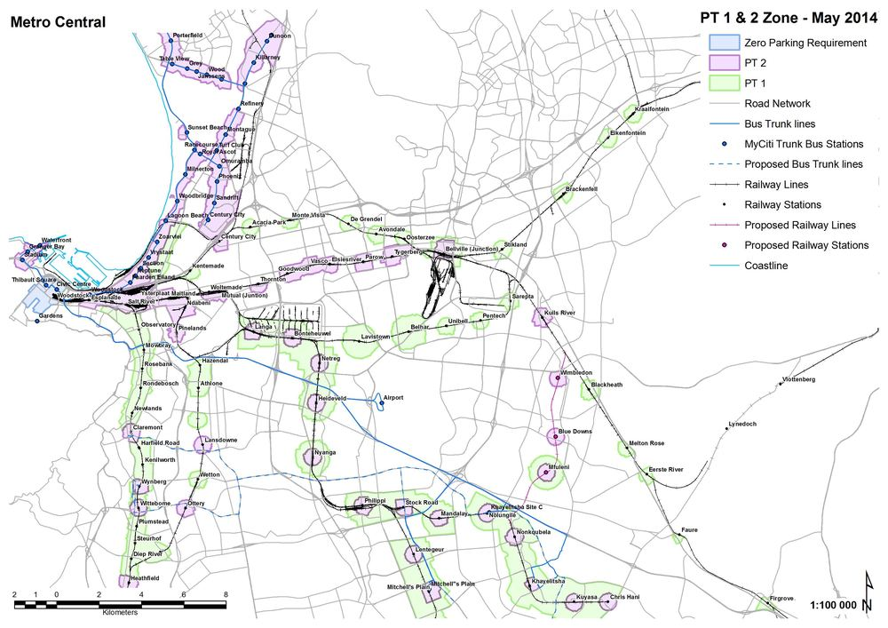The PT1 and PT2 Zones as demarcated by the City's Municipal Planning by-law. (Source: City of Cape Town)