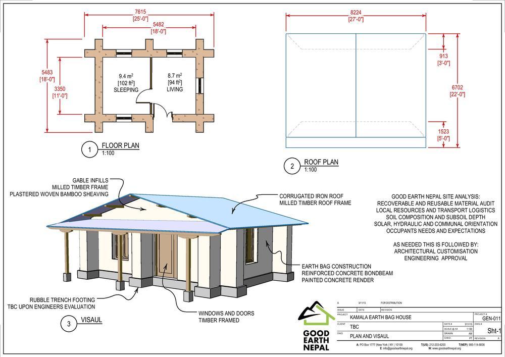 Kamala Earthbag House: Basic 2 Room Rural House Design