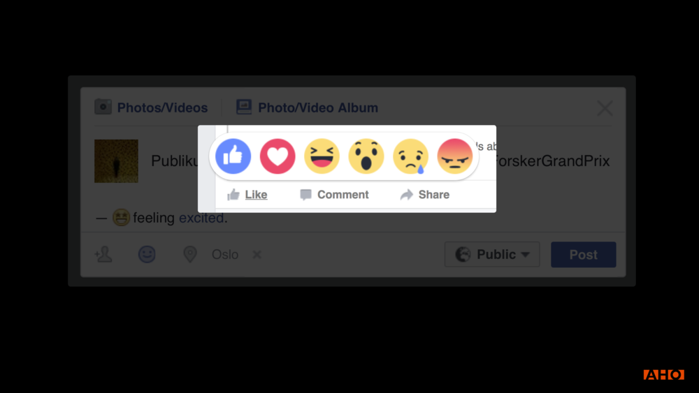 Facebook Reactions are designed to make you post more than those cosy family pictures many previously posted on Facebook. They have provided ways of expressing yourself as angry and sad, and made way for people to share e.g. upsetting news and serious matters. These choices are also shaping how we view Facebook as a room for conversations.