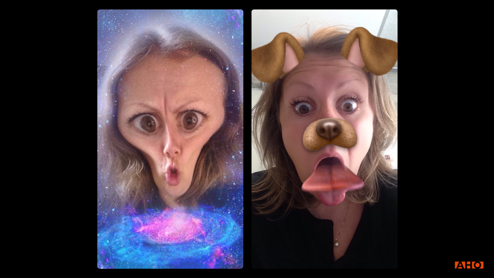 "SnapChat filters are also providing a way for you to express yourself in a funny, weired or amusing way. These designed choices for expressing yourself can give us an impression of SnapChat as a quick and funny ""room for conversations"".  (The filters are not the only reason, but a part of the combination of designed choices SnapChat has made.  )"