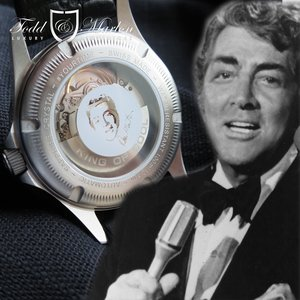 """The watch transparent caseback boasts a special insignia of Dean Martin and reveals a rotor with engraved his nick name """"KING OF COOL"""" to commemorate his seemingly effortless charisma and self-assurance."""
