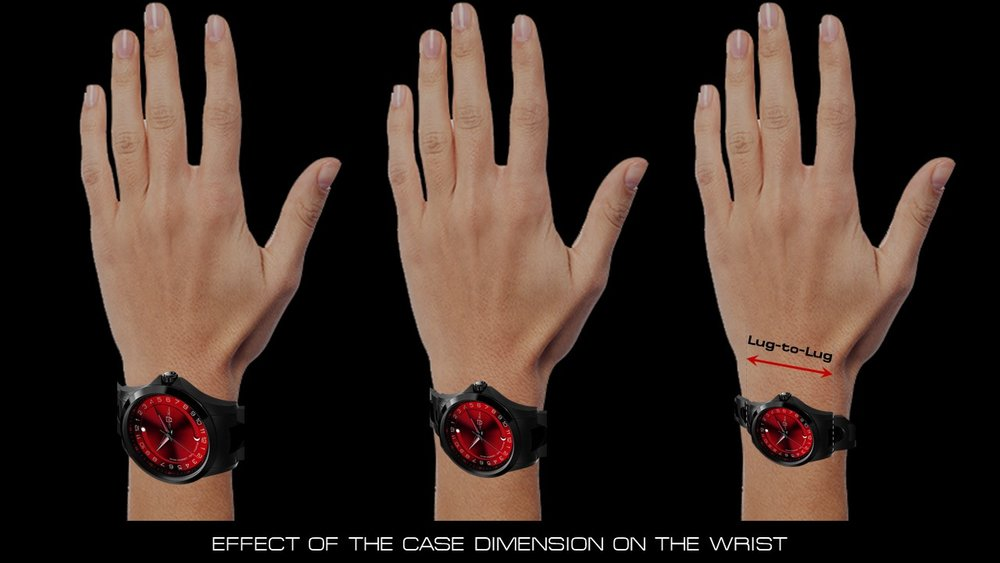 wristwatch case dimension