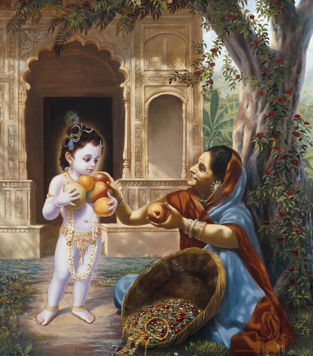 The Supreme Lord is universally famous for reciprocating many times over whatever offering is made to Him with love.     This poor fruit seller was so overcome with love for little Krishna in Gokul that she gave Him all the fruits He could handle.  Krishna blessed her with untold wealth filling her basket with priceless gems and her heart with eternal spiritual bliss.