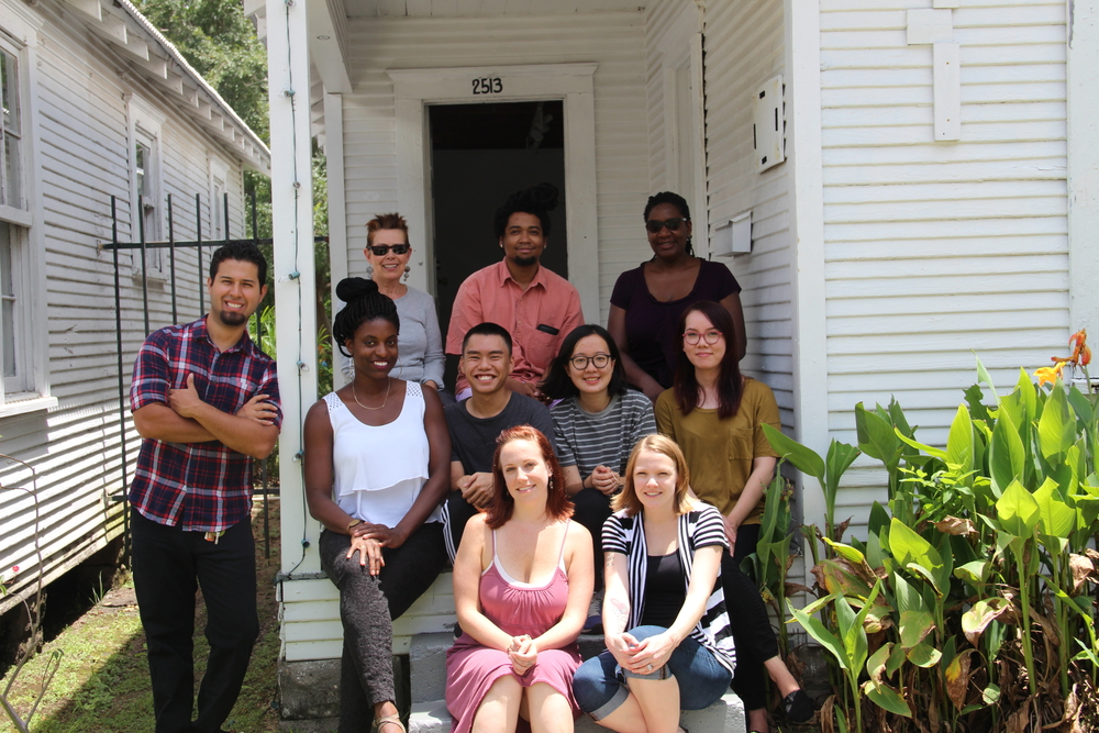 Summer Studios residents with PRH staff and panel members     Top, left to right   : Karen Bertonaschi, Amiri Boykin, Kaneem Smith    Middle   : Robert Riojas  Ryan N. Dennis, Kevin Chen, Huidi Xiang, Caroline Ryan    Bottom   : Rachel Even and Devon Grigsby    Photo by Michael McFadden