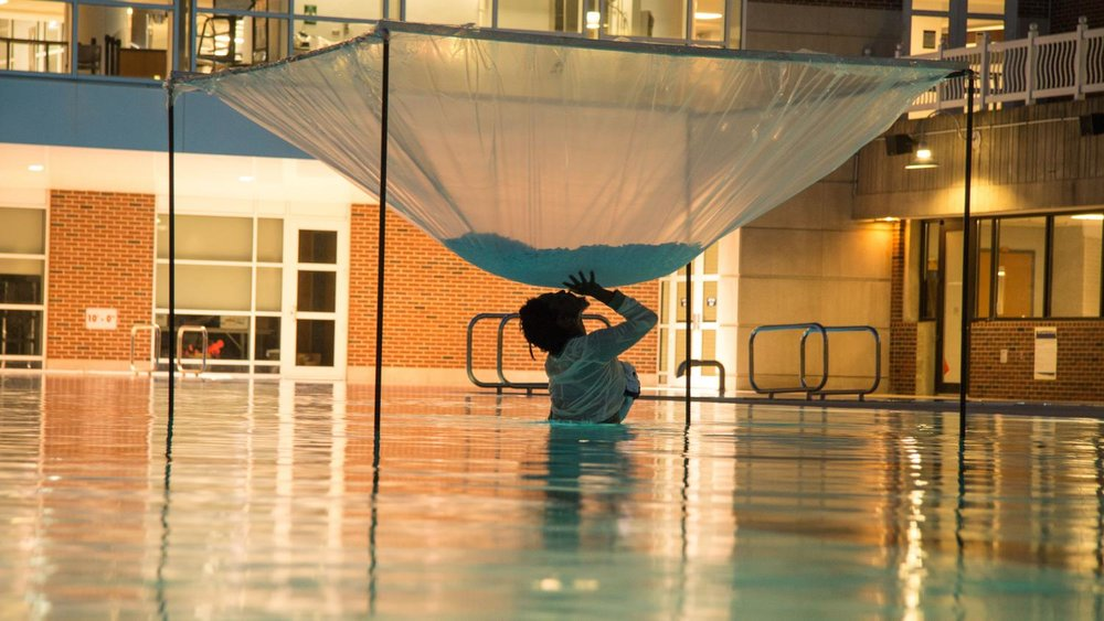 Autumn Knight,  Experimental Freezing of a Room through Metaphorical Means , performance at University of Illinois Activities and Recreation Center, 2017. Photo by Julia Nucci Kelly. Courtesy Krannert Art Museum.