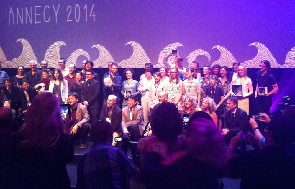 2014 ANNECY WINNERS - Drew Hodges Creator, Executive Producer - Pictured (with award) at Far Right