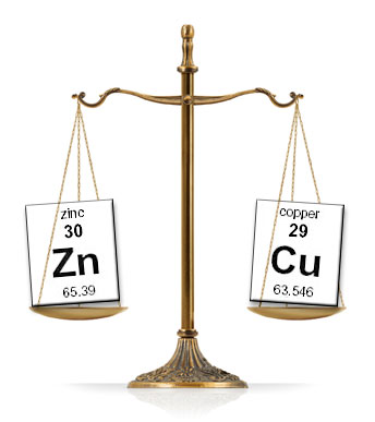 Copper and zinc balancing each other.