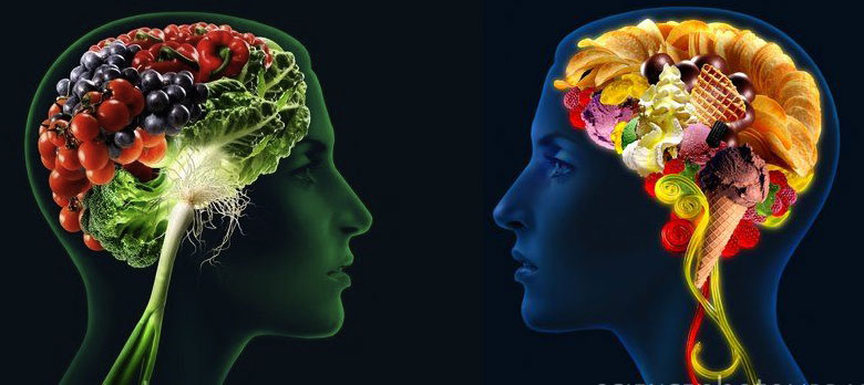 An illustration of two brain - one full of fruits and vegetables, the other full of candy and junk food.