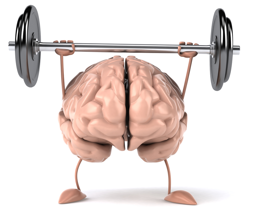 An illustration of a brain with arms and legs. The brain is lifting weights over it's head.