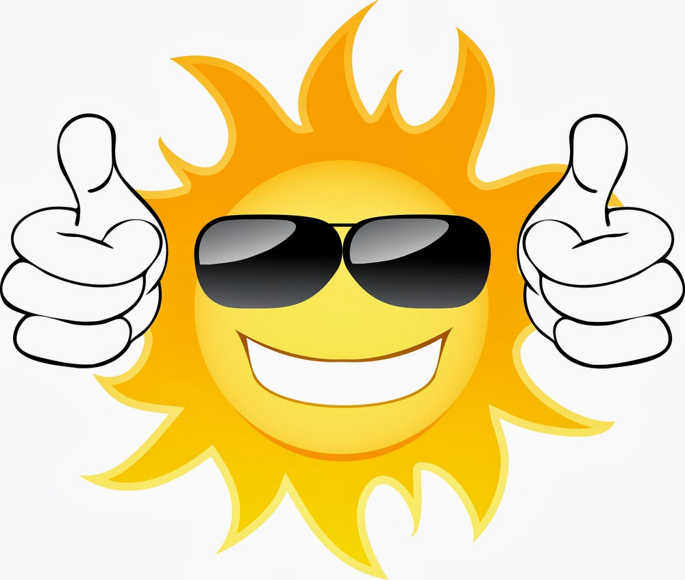 A cartoon sun with sunglasses and two thumbs up. Sunlight and Vitamin D from the sun can help you overcome brain fog.