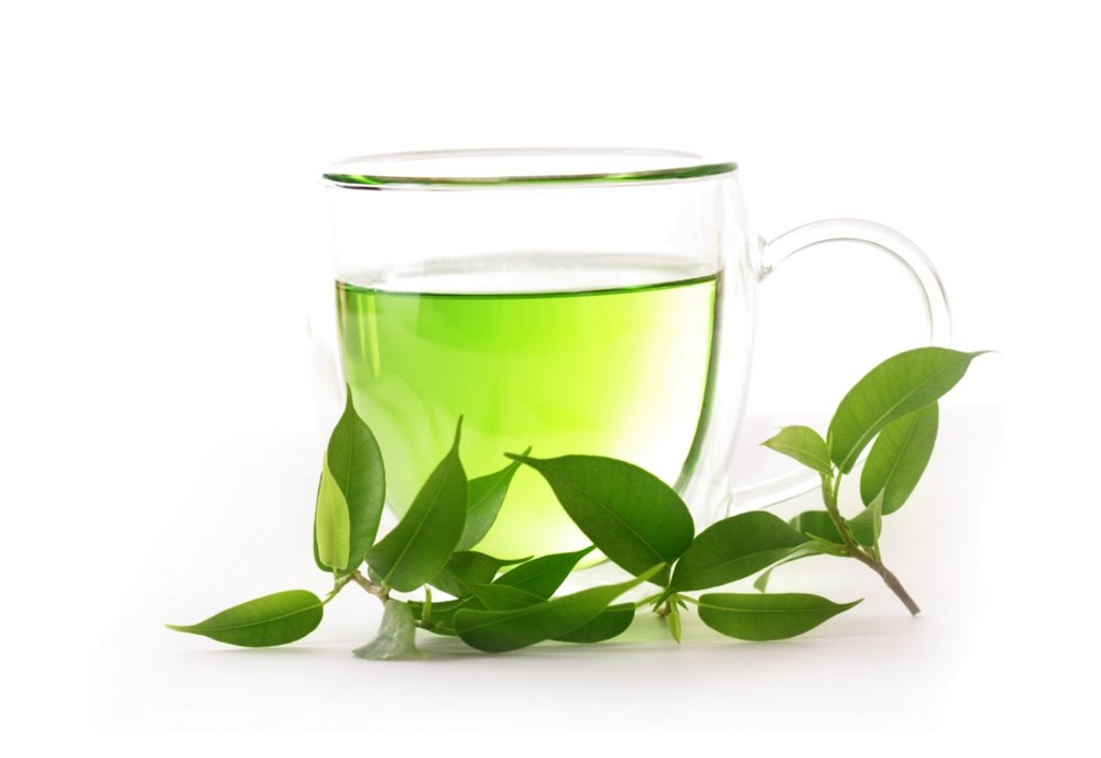 A cup of green tea. Green tea can lower cortisol levels.