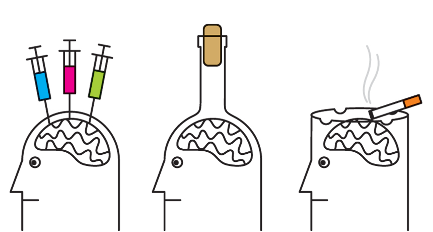 Cartoon illustration of three people. One has needles stuck in its head. The second has it's head shaped like a wine bottle. The third's head is in the shape of an cigarette ash tray and has a cigarette sitting on it.