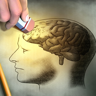 A person erasing the prefrontal cortex of the brain.