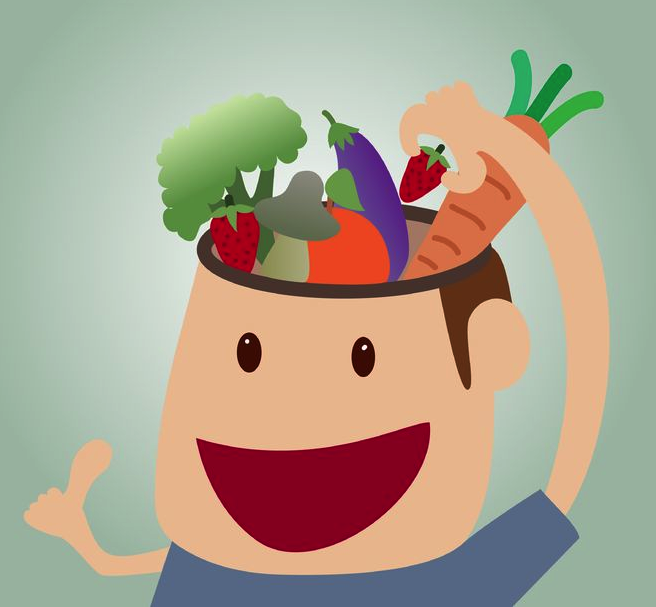 A cartoon man with a hole in the top of his head. His skull is full of fruits and vegetables.