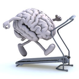 A cartoon brain running on a treadmill. Exercise can help prevent and reverse cognitive decline and dementia.