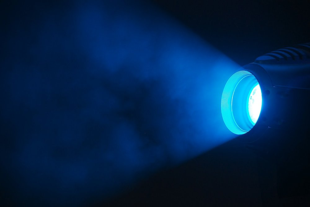 A lamp emitting blue light.