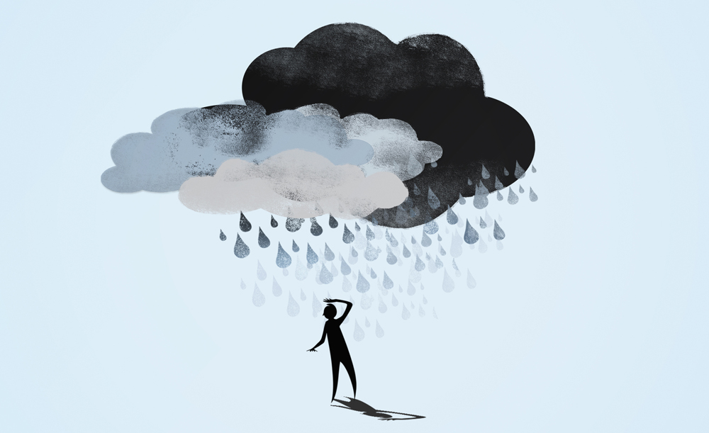 Clouds raining on a stick man.