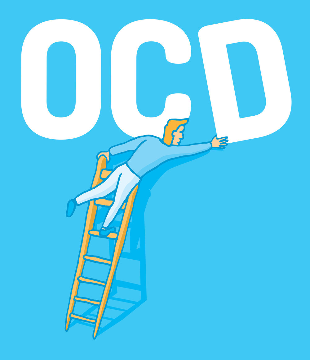 Illustration of man on ladder fixing OCD sign.