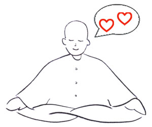 A cartoon Buddhist monk meditating. Loving-Kindness Meditation can help you overcome trauma and PTSD without medication.
