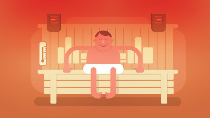Illustration of man sitting in a sauna, improving his mental health one minute at a time.