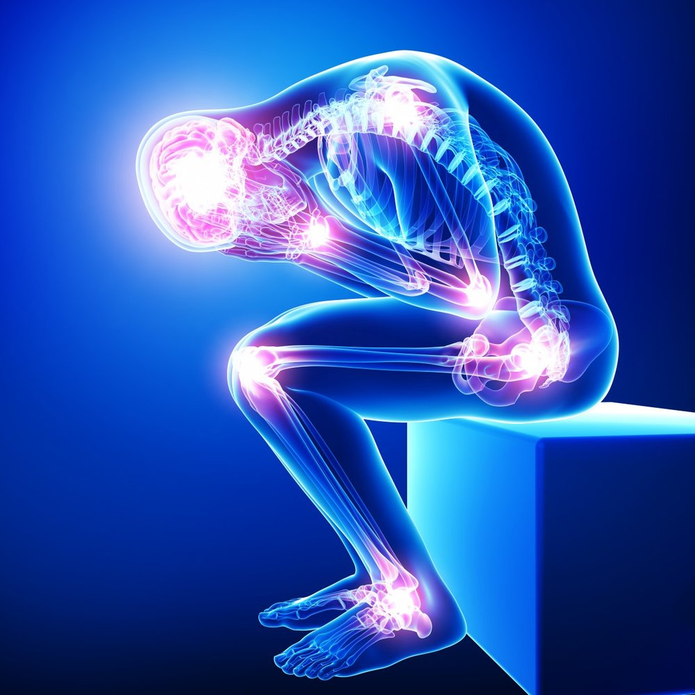Illustration of person in pain. Saunas can help reduce the symptoms of fibromyalgia.
