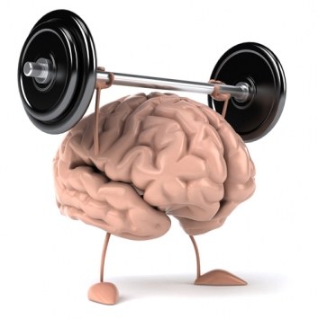 A cartoon brain with arms and legs, lifting weights over its head. Saunas increase BDNF.