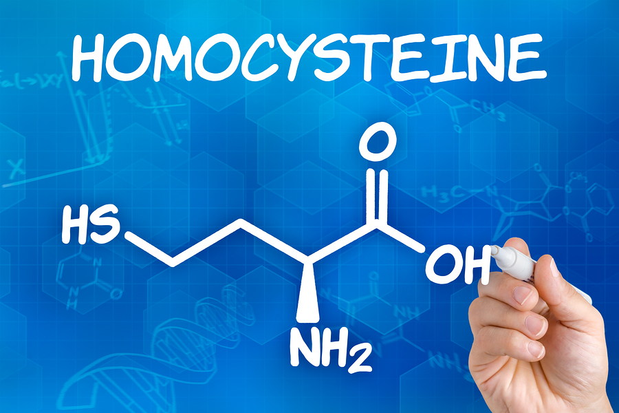 Illustration of the homocysteine symbol. Normalizing homocysteine levels can help the brain recover after damage.