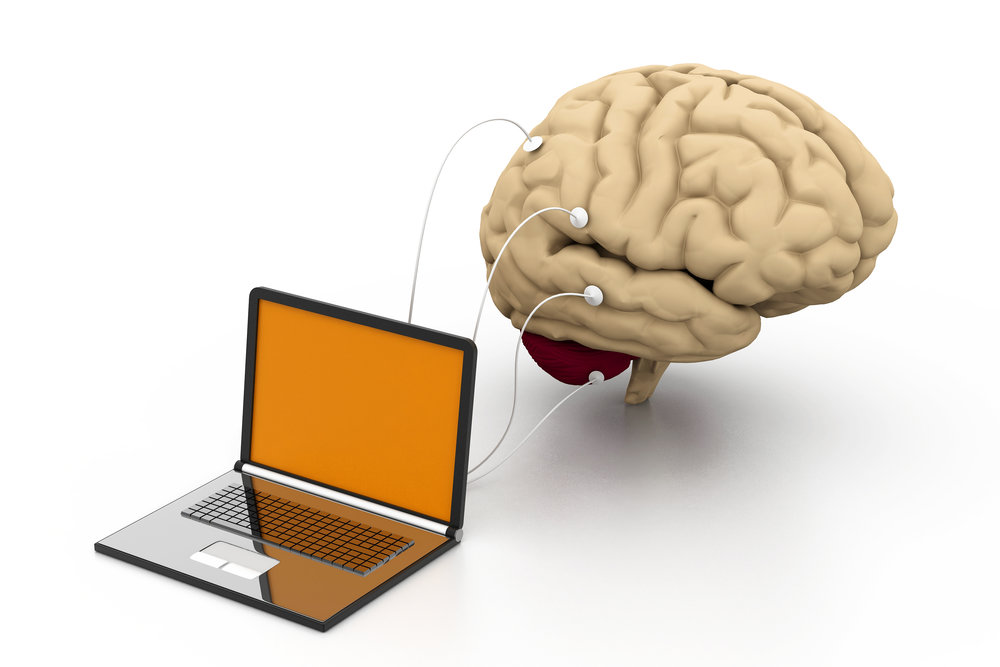 Brain hooked up to computer. Neurofeedback can help reverse brain damage.
