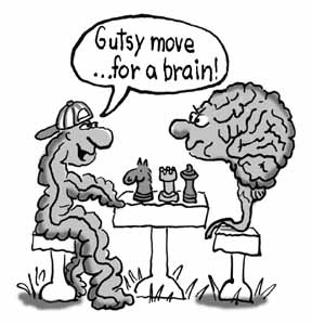 "Gut is playing chess with Brain. Gut says ""Gutsy move for a brain…""."