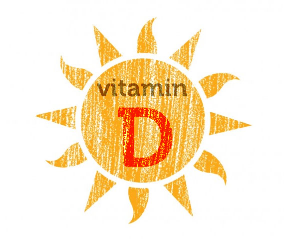An illustration of the sun. It says Vitamin D in the middle of the sun. Humans get Vitamin D from sunlight. A deficiency in Vitamin D can make you more anxious.