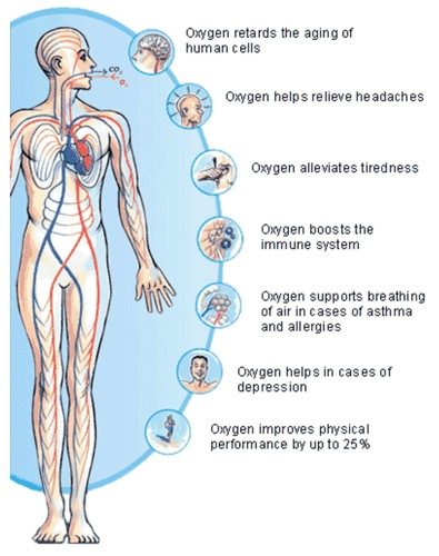 An illustration of the benefits of oxygen therapy.