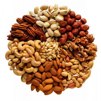 An assorted mix of nuts. Nuts are a rich source of thiamine, or Vitamin B1. People with depression often have low levels of Vitamin B1.