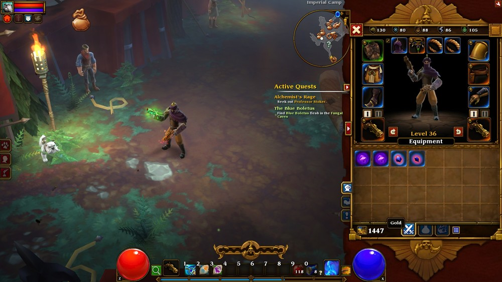 In writing this, I conducted a little experiment. I played Torchlight 2 for about 5 minutes with my level 35 character to see how much money I could acquire. The starting amount was 1447 gold.