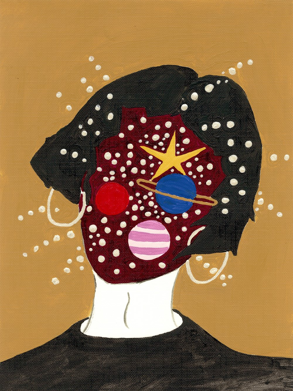 Space Cadet - Acrylic on canvas by Jen Yih
