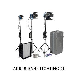ARRI 5-BANK LIGHTING KIT  1K, 650w, 650w, 300w, 150w Stands, Spare Bulbs, Barndoors Chimera for 1K