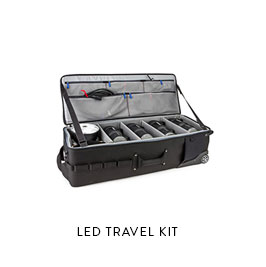 LED TRAVEL KIT  Full stand alone travel lighting kit  (2) Hi-Capacity LEDs (comparable to 4ft kinos) (1) Battery Powered LED (3) Travel stands, Mounts, Expendables, misc  Made with LiteGear Profesional Film LEDs   Color balanced accurate CRI Daylight/Tungsten, Dimmable  *Note - photo represents the exact case but the fixtures are different