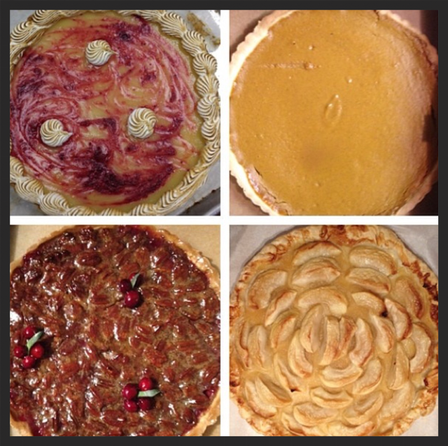 Clockwise from top: lemon-cranberry, pumpkin, French apple, and cranberry-pecan.