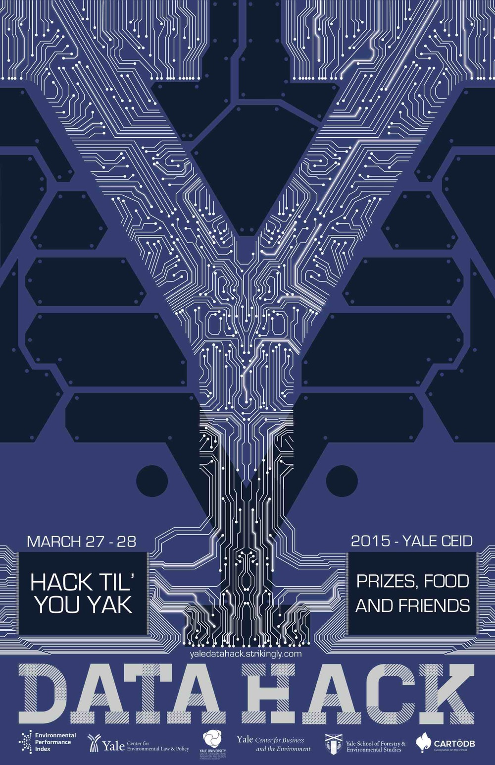 Data Hack 2015 is a hackathon to bring together cutting-edge research and next-generation information communication. We're pairing Yale researchers with designers, programmers, and writers and marketers to make data come alive through creative visualization and interactive design. Whether you have a dataset you'd like to present or are interested in being a member of a collaborative data team, sign up today to get hacking!    We welcome creative types of all kinds. We mean it. No visualization technique is off limits - so painters, interpretative dancers, and storytellers, please join us!