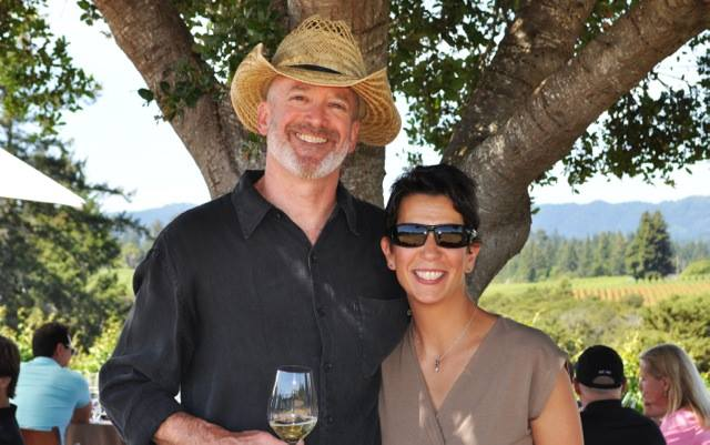 Patrick and Susan in Riddle Vineyard, outside the town of Occidental