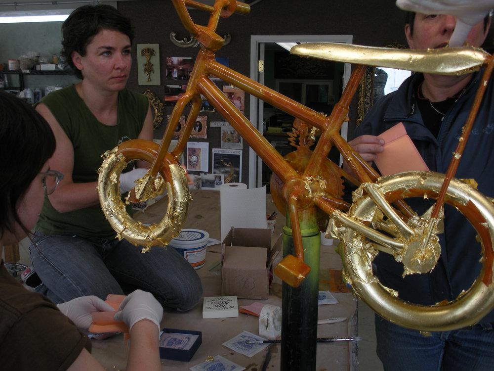 gold leafing the bike