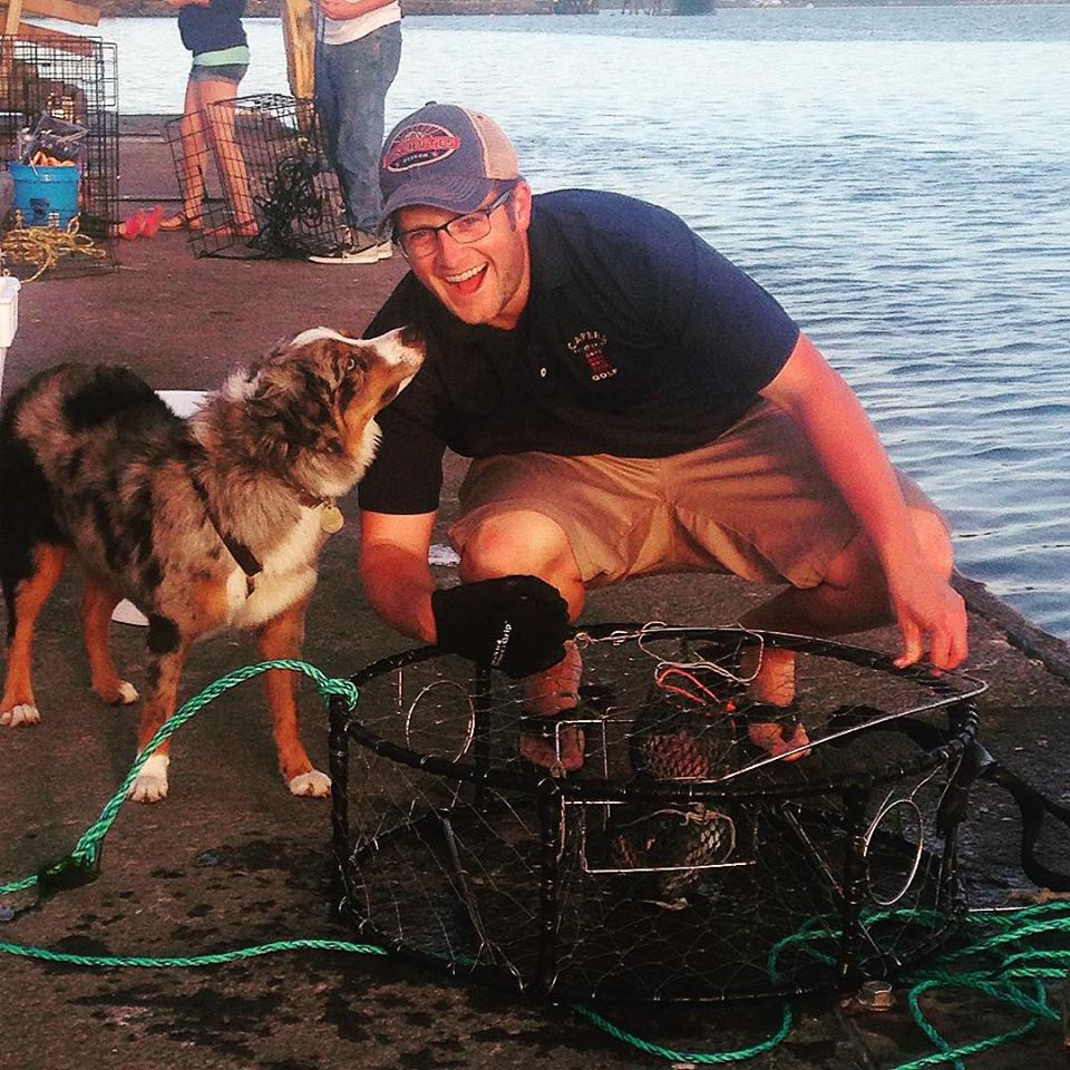 Tyler and his sometimes trusty Australian Shepard Carl crabbing on the Oregon Coast.