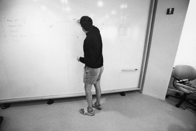Jobs was known for taking control of meetings and jumping up to the whiteboard to sketch ideas out. Photo Credit:  Diane Walker
