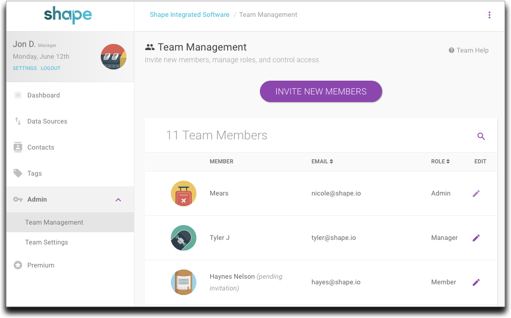The new Team Management page.