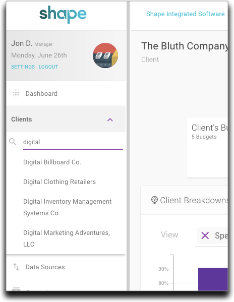 Search your Client roster directly from the side navigation.