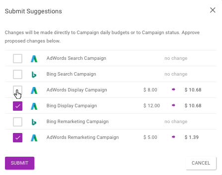 Use the checkboxes to select which spend recommendations you want to approve or ignore.