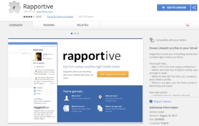 Rapportive Chrome Extension