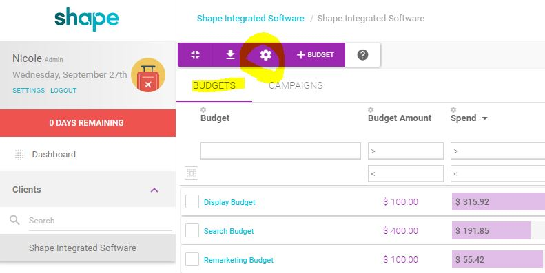 shape dashboard select budget settings.JPG